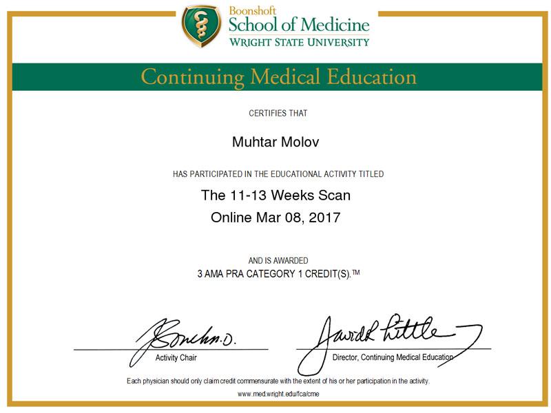 Сертификаты и дипломы врача Молова M.Р